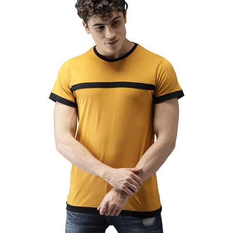 Image of #104-Men Mustard Yellow Solid Round Neck T-shirt