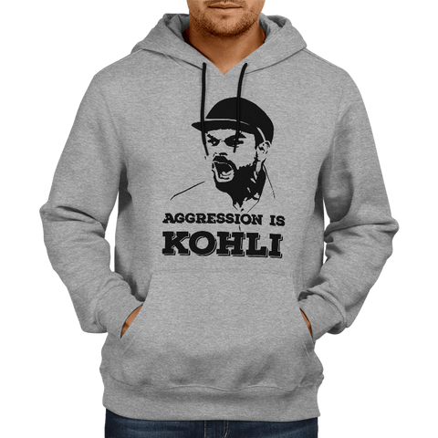 Image of CRIC 03- Aggression Is Kohli -Hoodie-Grey