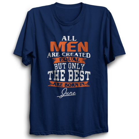 All men are created equal June -Half Sleeve Navy Blue