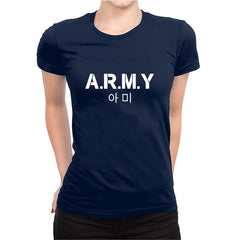 Army K-pop Half Sleeve Navy Blue