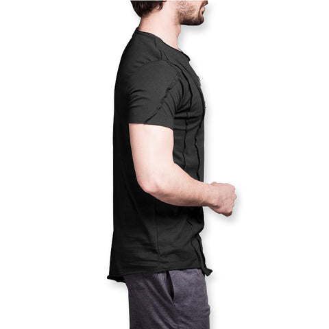 Men's Two Chest Zipper Black Slim Fit T-shirt