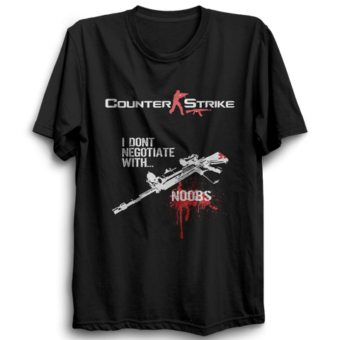 Counter Strike Kill Noobs Half Sleeve Black