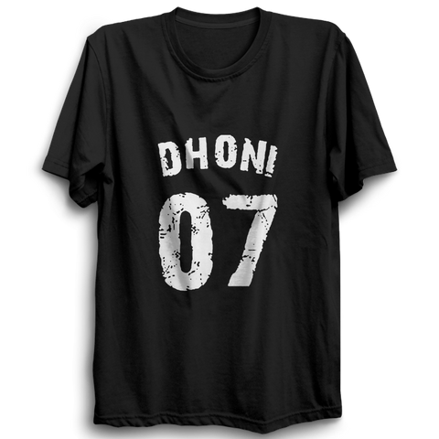 Image of CRIC 08 -Dhoni 07 -Half Sleeve-Black
