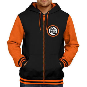 Dragon Ball Z Zipper Hoodie (Orange-Black)