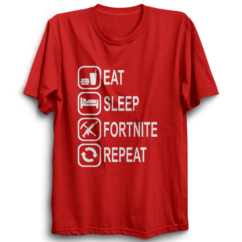Eat Sleep Fortnite Repeat -Half Sleeve Red