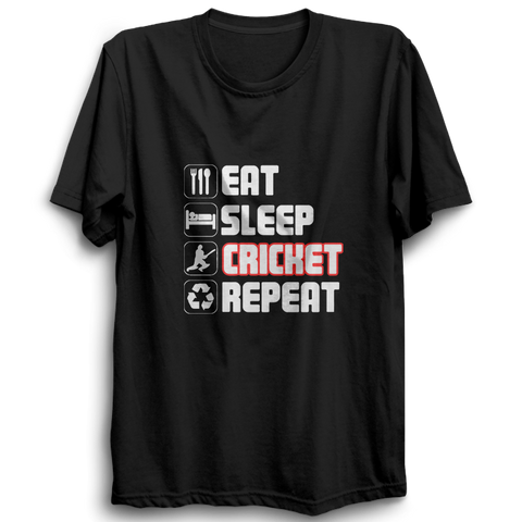 CRIC 39 - Eat Sleep Cricket Repeat 2 -Half Sleeve-Black