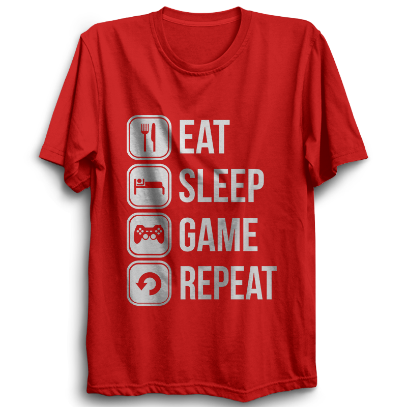 Eat Sleep Game Repeat- Half Sleeve Red