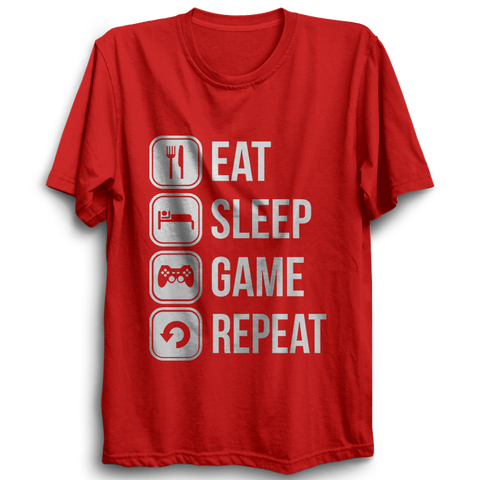 Image of Eat Sleep Game Repeat- Half Sleeve Red