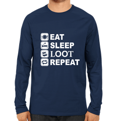 PUBG-10-Eat Sleep Loot Repeat-Full Sleeve Navy Blue