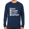 Image of PUBG-10-Eat Sleep Loot Repeat-Full Sleeve Navy Blue