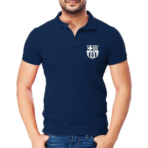 Image of FCB Logo Polo T-shirt Navy Blue
