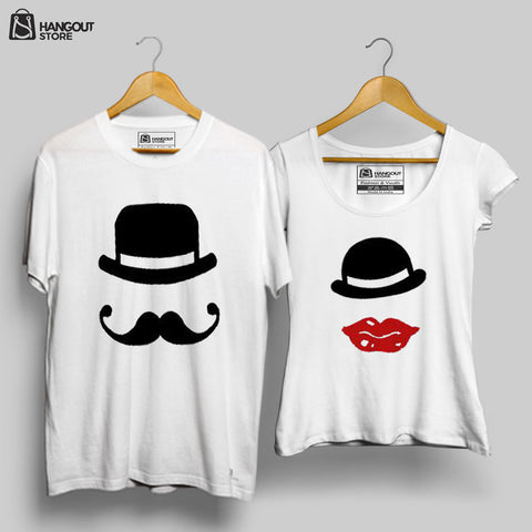 Hat and Lips - Half Sleeves White