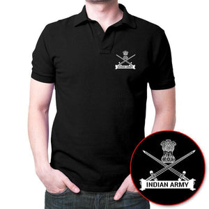 Indian Army Logo Polo T-Shirt Black