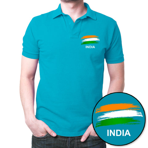 India Flag Polo T-Shirt Turquoise Blue
