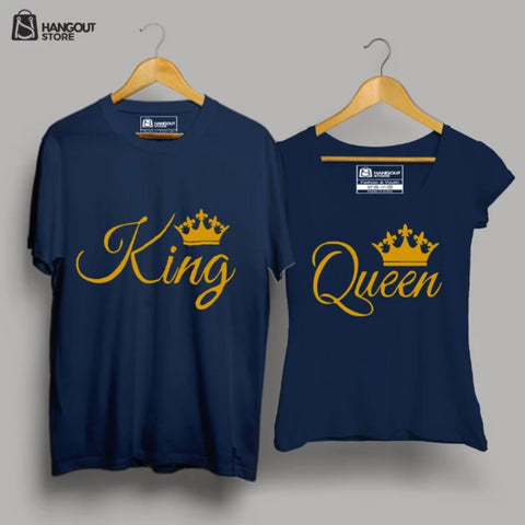 Image of King - Queen - Half Sleeve Navy Blue