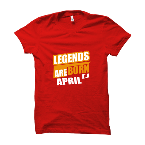 Image of Legends Are Born In April -Half Sleeve Red