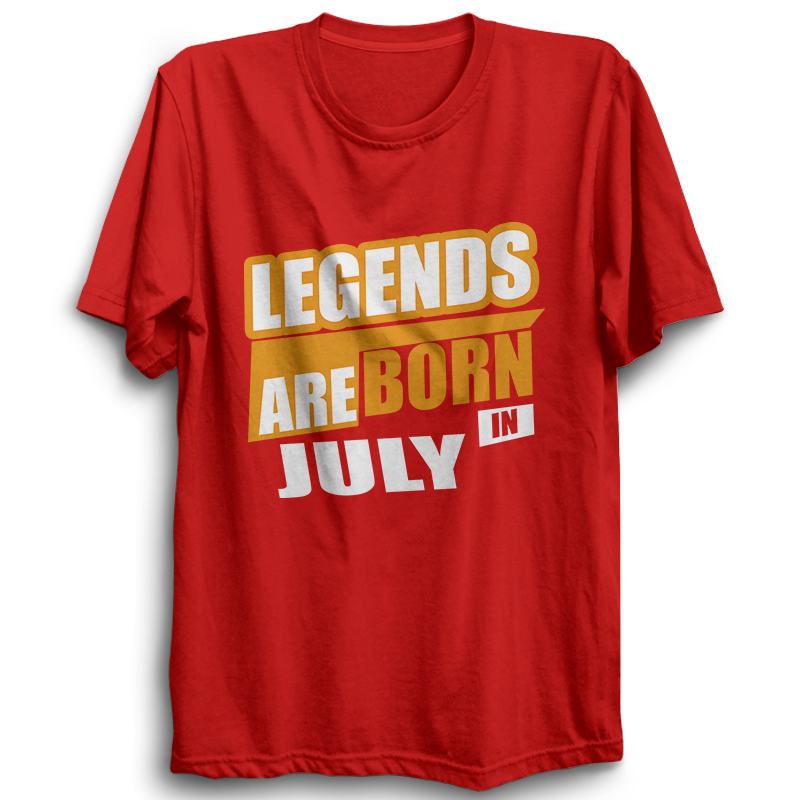 Legends Are Born In July -Half Sleeve Red