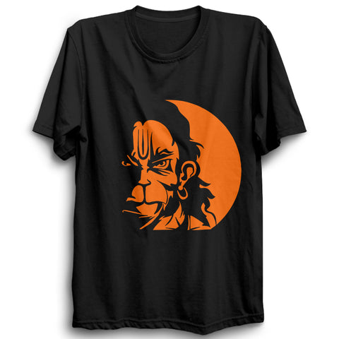 Image of Lord Hanuman Face-Half Sleeve Black
