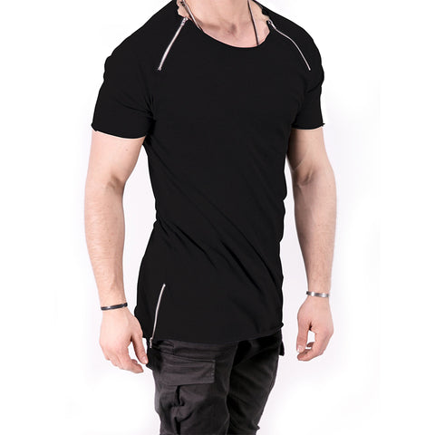 Men's Trap Light Black Zippers T-shirt