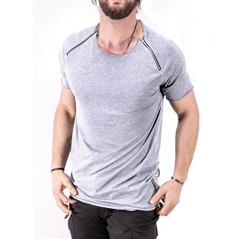 Image of Men's Trap Light Grey Zippers T-shirt