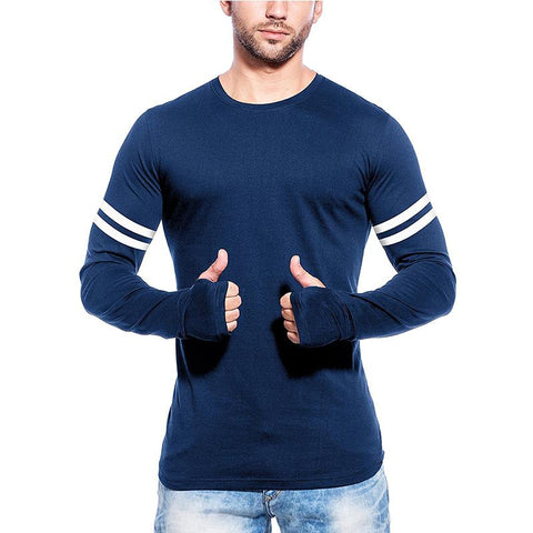 Image of Men's Full Sleeve Stripes Cotton T-shirt