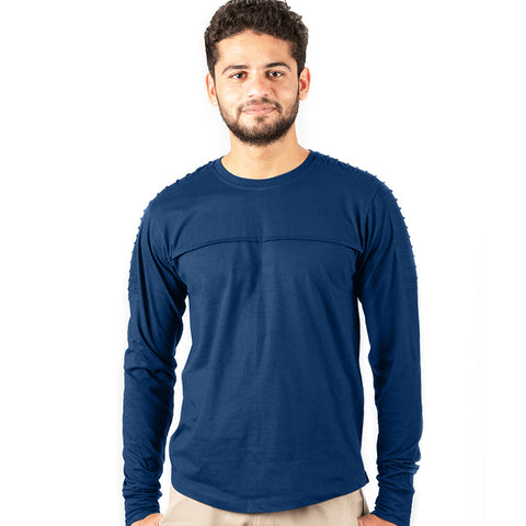 Men's Stylish Ridged Full Sleeve-Navy Blue