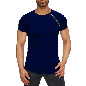 Men's Stylish Ridged Navy Blue Half Sleeve