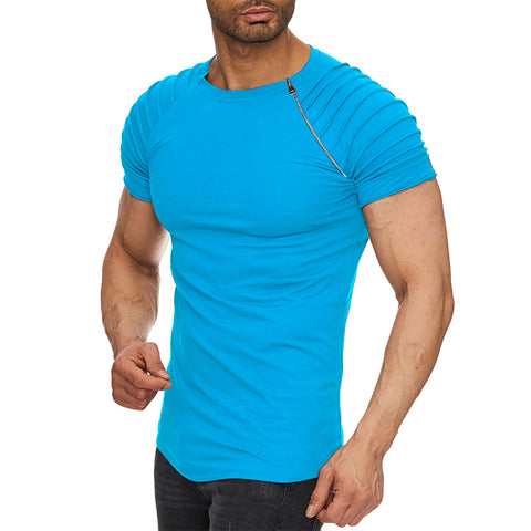 Image of Men's Stylish Ridged Turquoise Blue Half Sleeve