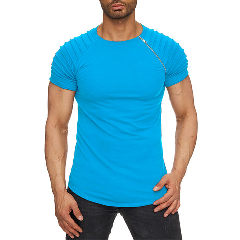 Men's Stylish Ridged Turquoise Blue Half Sleeve