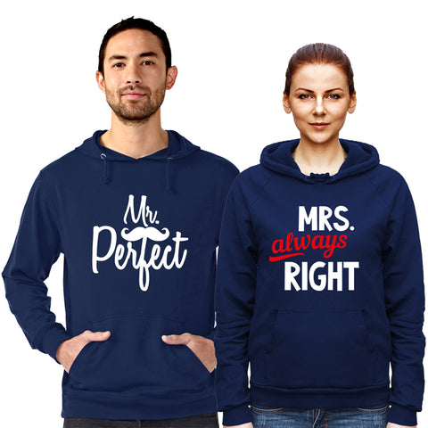Mr perfect and Mrs Always Right - Hoodie Navy Blue