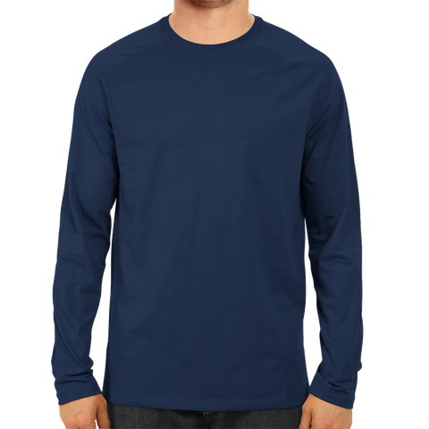 Men's Basic Plain Navy Blue Full Sleeve