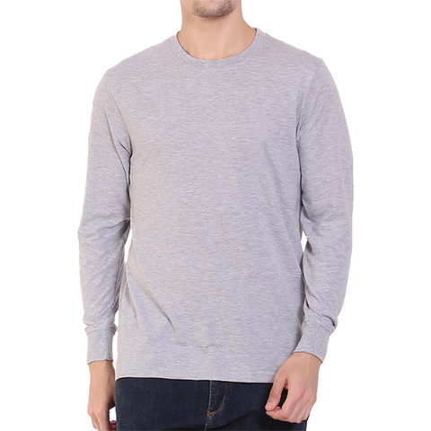 Image of Men's Basic Plain Grey Full Sleeve