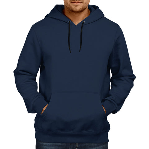Image of Men's Basic Plain Navy Blue Hoodie