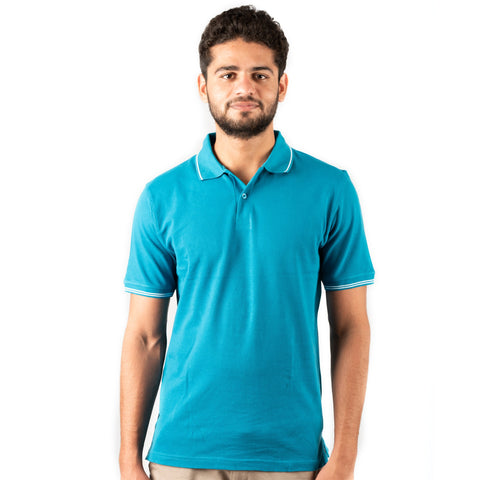 Men's Basic Polo Turquoise T-shirt