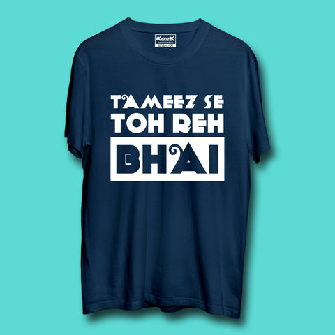 Image of Tameez Se Toh Reh Bhai T-Shirt Navy Blue