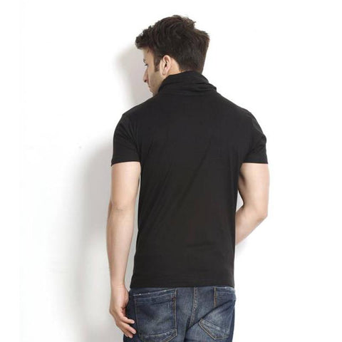 Image of Men's Cowl  Neck Black Half Sleeve T-shirt