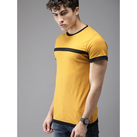 #104-Men Mustard Yellow Solid Round Neck T-shirt
