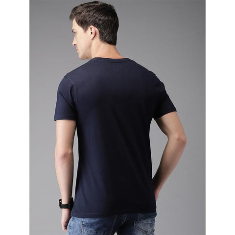 Image of #103-Men Navy Printed Round Neck T-Shirt