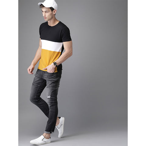 Image of #102-Men Black & Mustard Yellow Colourblocked Round Neck T-shirt