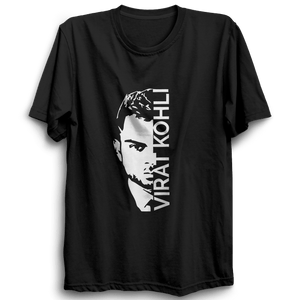 CRIC 35 -Virat Kohli with Face-Half Sleeve-Black