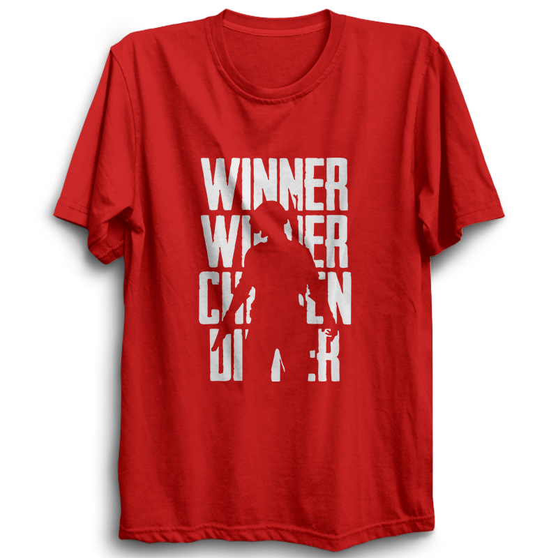 PUBG-09-Winner Winner Chicken Dinner 2 -Half Sleeve Red