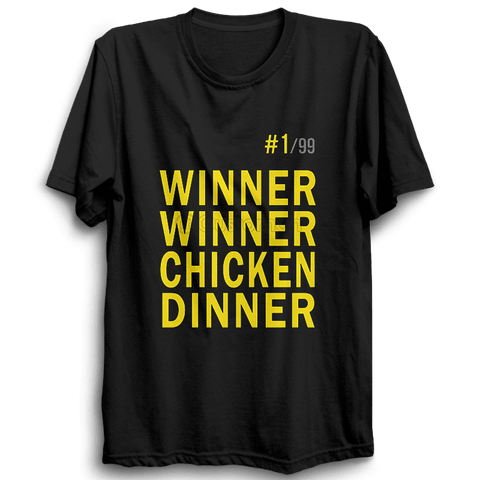 PUBG-08-Winner Winner Chicken Dinner -Half Sleeve Black