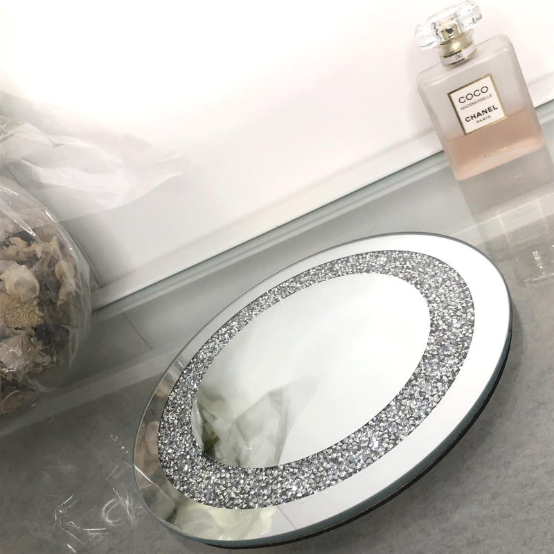 Crystal Edge Mirrored Candle Plate 20cm