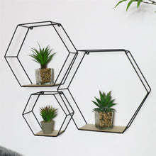 Load image into Gallery viewer, Black Hexagon Wall Shelves (3 pack)