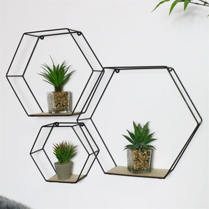 Black Hexagon Wall Shelves (3 pack)