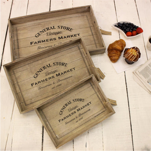 Rustic Wooden General Store Trays set of 3