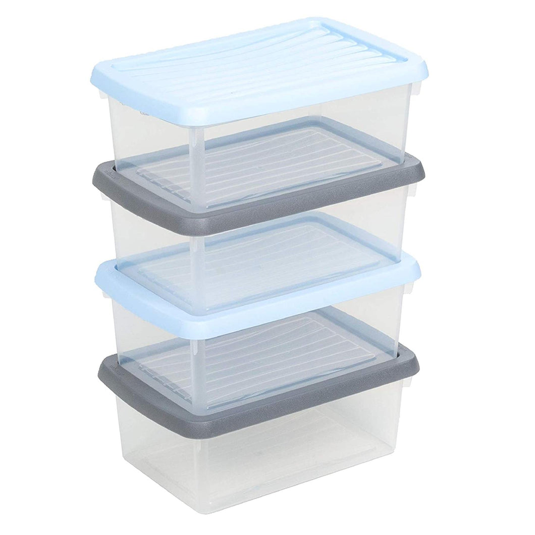 Wham Storage Boxes 3.5L set of 4 clear/assorted
