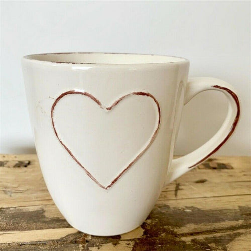 Cream Heart Embossed Mug - Large