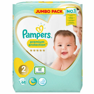 Pampers Premium Protection Nappies Size 2 - Jumbo Pack 68 Nappies