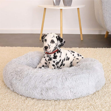Premium Plush Round Soft Pet Bed - Light Grey